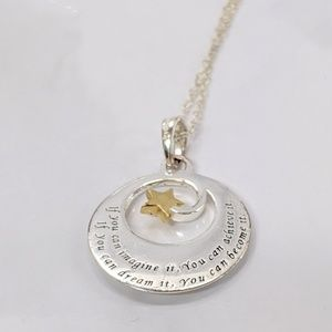 Two-Tone Sterling Silver Inspirational Necklace